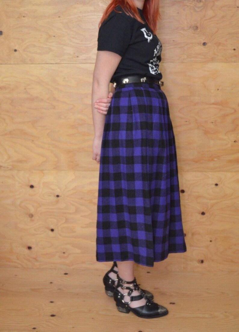 61ec90af438dd1 Vintage 80 ' s punk écossais midi jupe noir et violet M goth punk taille 29  jupe hiver jupe en laine un plaid de buffalo taille haute ligne