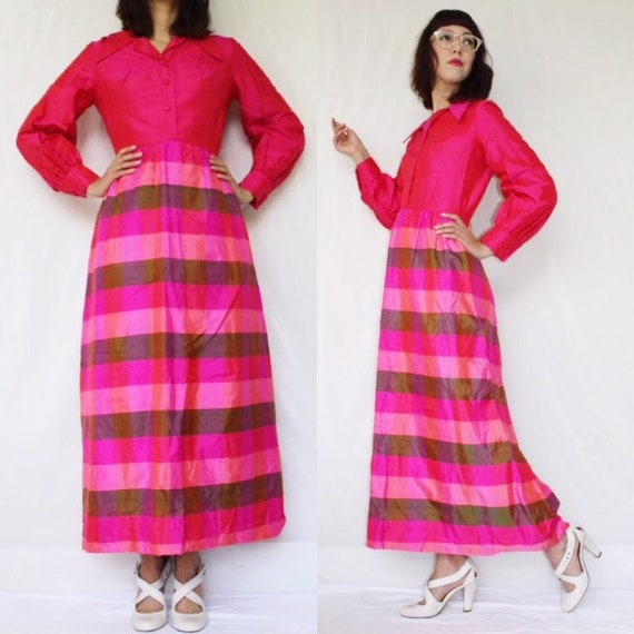 FREE SHIPPING vintage 60's silk maxi dress shirtdress gown hot pink and green silk shantung plaid psychedelic bright neon pink S excellent c