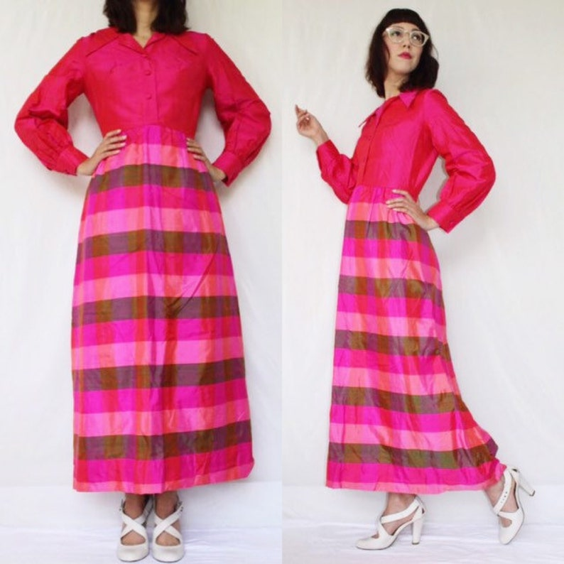 d4fd44b1a8a81 FREE SHIPPING vintage 60's silk maxi dress shirtdress gown hot pink and  green silk shantung plaid psychedelic bright neon pink S excellent c