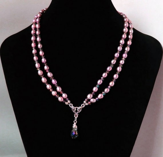 pink  swarovski element silver set with singapore chain in gift box