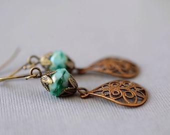 Green Turquoise Earrings Bronze Filigree Earrings Bohemian Lace Teardrop Earrings Czech Glass Earrings Long Boho Earrings Christmas Gift Her
