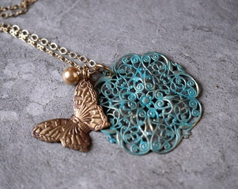 Vintage Butterfly Necklace Pearl Earrings Boho Vintaj Butterfly Pendant Green Turquoise Verdigris Patina Filigree Antique Gold Beauty Gift