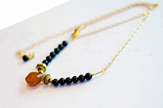 Black Onyx Bar Necklace /& Amber Chalcedony Teardrop on Gold Chain Minimal Choker Mothers Day Gift Everyday Necklace