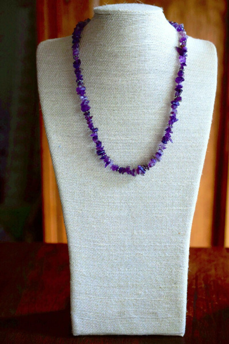 Raw Amethyst Necklace Stone Chip Purple Necklace by MsBsDesigns Gift for Her Mother Bohemian Jewelry