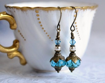 Pearl & Crystal Earrings Turquoise Blue Drop Earrings Czech Glass Earrings Golden Topaz Earrings Bronze Gift for Her