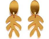 Plant Earring Gold Leaf Earring Gold Laser Cut Earring Gold Earring Acrylic Earring Small Leaf Earring Plant Jewelry Gold Statement Earring