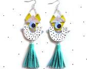 Holographic Earrings, Festival Earrings, Eye Earrings, Cartoon Earrings, Monster Earrings, Tassel Earring, Statement Earrings, Weird Jewelry