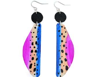 Geometric Earrings, Art Earrings, Dot Earrings, Drop Earrings, Leather Earrings, Painted Earrings, Dangle Earrings, Abstract Art Earrings