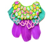 Leather Statement Necklace, Purple Bib Necklace, Rainbow Hexagon Necklace, Pink, Turquoise and Green Geometric Necklace