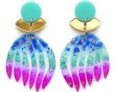 Laser Cut Acrylic Earring, Gold Statement Earrings, Purple Earring, Perspex Earrings, Resin Earring, Turquoise Blue Earring, Glitter Earring