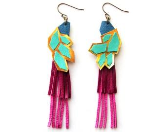 Pink Statement Earrings, Geometric Earrings, Leather Earrings, Long Earring, Fringe Earrings, Teal Earrings, Gold Earrings, Faceted Earrings