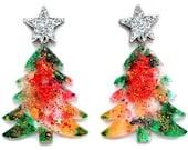 Resin Christmas Earring, Holiday Earring, Christmas Jewelry, Acrylic Earring, Laser Cut Earring, Christmas Tree Earring, Red Acrylic Earring