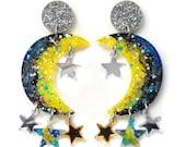 Celestial Earring, Acrylic Earring, Statement Earrings, Star Earrings, Moon Earrings, Laser Cut Earrings, Resin Earrings, Crescent Earring