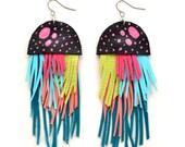 Fringe Earrings, Leather Earrings, Tassel Earrings, Jellyfish Earrings, Statement Earrings, Leather Jewelry, Long Earrings, Sea Earrings