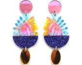 Laser Cut Earrings Acrylic Earring Statement Earrings Rainbow Earrings Flower Earrings Resin Earrings Green Earrings Plant Earrings