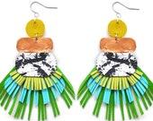 Statement Earrings, Green Fringe Earrings, Tassel Earring, Leather Earrings, Geometric Earrings Metallic Earrings, Marbled Earrings