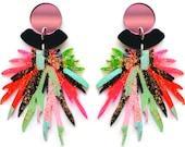 Statement Earring, Pom Pom Earring, Acrylic Laser Cut Earring, Pink Acrylic Earring, Colorful Resin Earring, Red Earring, Abstract Earring