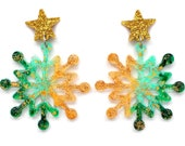 Gold Snowflake Earring Green Earring Stud Earring Snowflake Jewelry Gold Star Earring Winter Earring Glitter Earring Acrylic Earring