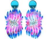Statement Earrings, Laser Cut Earrings, Acrylic Blue Earrings, Flower Earrings, Resin Earrings, Laser Cut Jewelry, Glitter Drop Earring