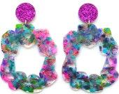 Laser Cut Earrings Acrylic Earring Statement Earrings Abstract Art Earring Hoop Earring Resin Earring Laser Cut Jewelry Glitter Drop Earring
