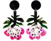 Pink Flower Earring, Stud Statement Earrings, Floral Earring, Botanical Earring, Drop Earrings. Acrylic Earring. Flower Dangle Earring