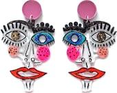 Abstract Face Earrings, Statement Earring, Resin Earrings, Laser Cut Earring, Acrylic Earring, Eyes Earring, Picasso Earrings, Face Jewelry