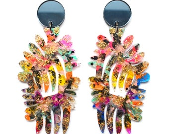 Statement Earrings Laser Cut Earring Perspex Earrings Acrylic Earring Colorful Earrings Resin Earrings Flower Earrings Perspex Jewelry