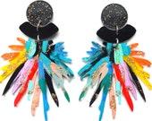 Statement Earring Pom Pom Earring Laser Cut Earring Acrylic Earring Resin Glitter Earring Rainbow Earring Flower Earring Perspex Earrings