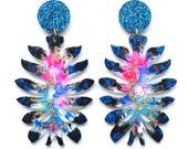 Flower Earring, Glitter Acrylic Earrings, Statement Earring, Botanical Earrings, Resin Earrings, Laser Cut Earring, Glitter Abstract Earring