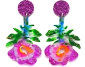 Purple Flower Earring, Statement Earring, Floral Earring, Botanical Earring, Flower Drop Earring, Acrylic Earring, Flower Dangle Earring