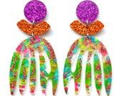Flower Earrings, Painted Earrings, Green Acrylic Earring, Statement Earrings, Leaf Earrings, Resin Earrings, Floral Earring, Matisse Earring