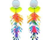 Laser Cut Earring Neon Acrylic Earring Statement Earring Colorful Earring Resin Earrings Tree Branch Earring Glitter Earring Painted Earring