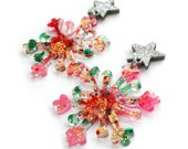 Red Snowflake Earring Abstract Geometric Earring Stud Holiday Earring Gold Star Earring Winter Earring Glitter Acrylic Earring