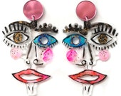 Statement Earring Abstract Earring Abstract Face Earring Laser Cut Earring Acrylic Earring Resin Earring Eye Earrings Picasso Face Jewelry