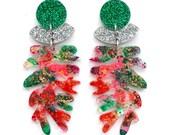 Christmas Earrings Laser Cut Earrings Red Acrylic Earring Glitter Earring Leaf Earrings Resin Earrings Mistletoe Earrings Christmas Jewelry