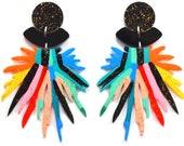 Statement Earrings, Pom Pom Earring, Laser Cut Earring, Acrylic Earring, Resin Earring, Rainbow Earring, Flower Earring, Perspex Earrings