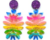 Laser Cut Earring Acrylic Earring Resin Glitter Earring Rainbow Earring Statement Earring Flower Earring Perspex Earrings Laser Cut Jewelry