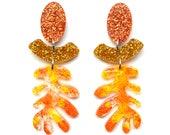 Laser Cut Earrings Acrylic Earring Statement Earrings Stud Dangle Leaf Earrings Resin Earrings Laser Cut Jewelry Glitter Drop Earring