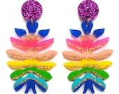 Laser Cut Earring, Acrylic Earring, Resin Earrings, Glitter Earring, Rainbow Earring, Statement Earring, Flower Earring, Perspex Earrings