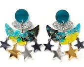 Crescent Moon Earring, Celestial Earring, Acrylic Earring, Statement Earring, Star Earrings, Resin Earrings, Space Earring Celestial Jewelry