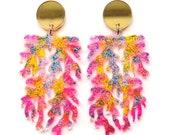 Coral Earring Laser Cut Earring Neon Acrylic Earring Glitter Resin Earring Mermaid Earring Statement Earring Ocean Earring Perspex Earring