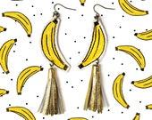 Banana Earrings, Fruit Earrings, Gold Tassel Earring, Food Earring, Pop Art Jewelry, Banana Jewelry, Illustration Jewelry, Statement Earring