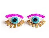 Eye Earrings Eye Ear Jacket, Gold Earrings Eye Stud Earrings Gold Leather Earrings, Seeing Eye Stud Eye Statement Earrings Gold Fan Earrings