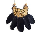 Gold Geometric Statement Necklace, Black Feather, Leather and Wood Necklace, Metallic Hexagon Bib, Geometric Jewelry