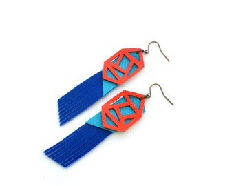Geometric Earrings, Blue Fringe Leather Earrings, Orange Earrings, Color Block Earrings, Long Statement Earrings, Geometric Jewelry