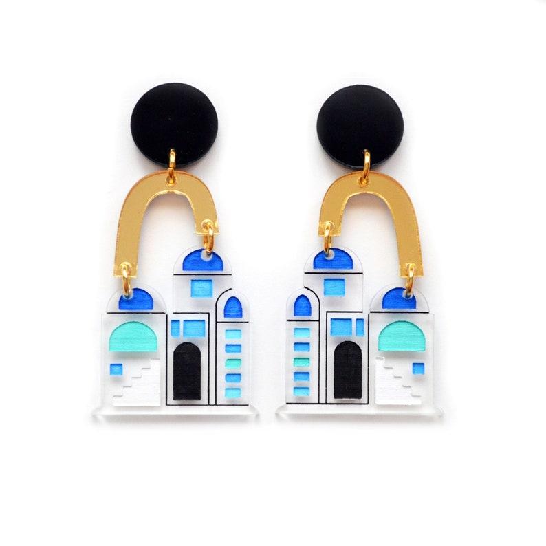 Landscape Earrings Santorini Earrings Travel Earrings House Earrings Architecture Earrings Greek Earrings Laser Cut Earrings