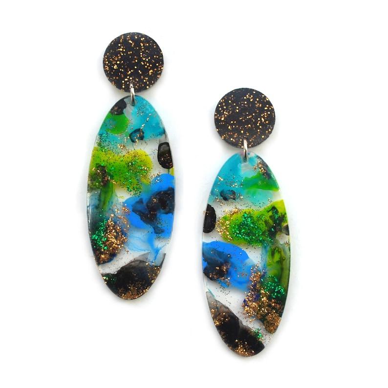 Colorful Resin Earrings Watercolor Earring Laser Cut Earring Bright Painted Earring Statement Earring Acrylic Earring Abstract Earring