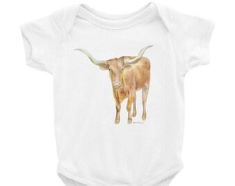 2dfa31ff3 Texas Longhorn Watercolor Infant Bodysuit Baby Onesie T-shirt UT