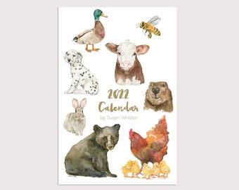 2022 Calendar - Animal Desk Calendar - 12 Month - Watercolor Art