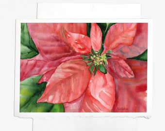 Watercolor Christmas Card Set Poinsettia 2 Floral Painting